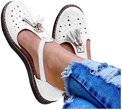 JSONA Sandalias de Punta Abierta para Mujer, Zapatos ortopédicos con Soporte de Arco, Sandalias correctivas de juanete de Punta Plana de Verano para Mujer, Viajes en la Playa