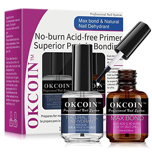 OKCOIN Professional Nail Dehydrator and Primer Max Bond, No Burn PH Balance Nail Prep Dehydrator and Primer Set, Acid Free Superior Protein Bonding Fast Air Dry For Gel Nail Polish & Acrylic Powder Gift Box Set