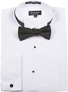 a09f38ced15 Milani Men s Tuxedo Shirts with French Cuffs and Bow Tie