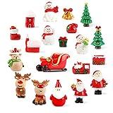 Adorno en miniatura de Navidad, FUPA, 20 unidades de Mini Adornos de Navidad Paisaje, Adorno de Santa Clausura en miniatura, árbol de Navidad, muñeco de nieve, casa de muñecas, jardín de hadas y...