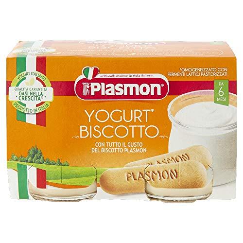 Plasmon Omogeneizzato, Yogurt e Biscotto, Confezione da 12 pacchi da 2 x 120 g
