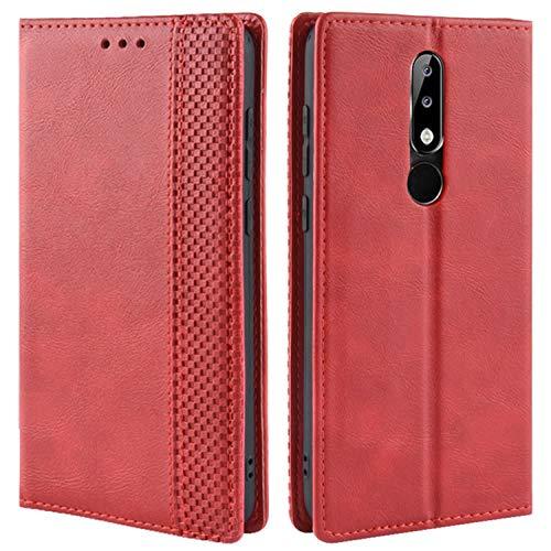 HualuBro Handyhülle für Nokia 5.1 Plus Hülle, Retro Leder Brieftasche Tasche Schutzhülle Handytasche LederHülle Flip Hülle Cover für Nokia 5.1 Plus - Rot