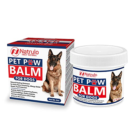Natrulo Pet Paw Balm for Dog - Natural Healing Ointment for Itchy Paws, Grooming, Allergy Relief, Repair, Pad Protection – Soothing Unscented Shea Butter Moisturizer for Itching, Dryness, Licking 2oz