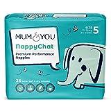 Mum & You Pañales ecológicos Nappychat, Talla 5 (36 pañales) con tecnología...