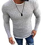 Mengmiao Suéter Jersey Color Sólido Hombres Cálido Prendas de Punto Sudadera Casual Confort Pullover Top (Gris,Asia 2XL)