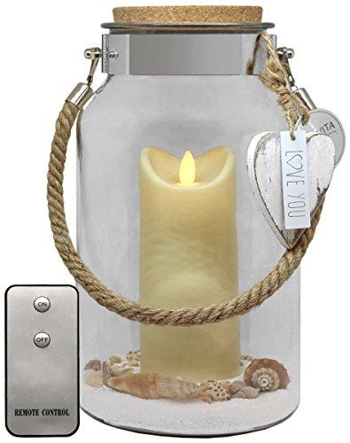 Dekovita idea de regalo 30cm vidrio decorativo 18cm Vela LED blanco control remoto amor día de la madre bebé nacimiento cumpleaños cumpleaños deco de habitaciones