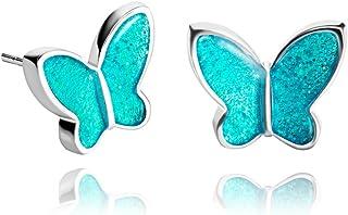 Pendientes Mariposa Azul Agua para Novia de Dragon Porter