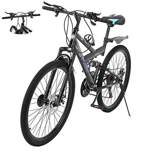 DNNAL 26 Pulgadas de Bicicletas de montaña, 21 de Velocidad Ligero y Duradero Bicicletas de suspensión de BTT de Doble Freno de Disco Completas para Mujeres de los Hombres de la Bici
