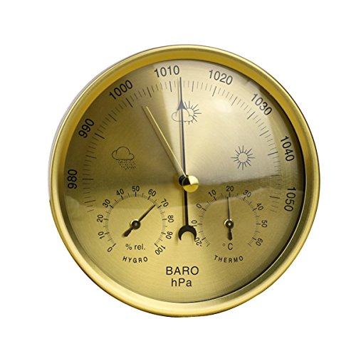 OUNONA Pr?zision Aneroid-Barometer Wetterstation 3?in 1?Barometer Thermometer Hygrometer f¨¹r Innen- und Au?eneinsatz mit Edelstahl Rahmen (Gelb) Goldfarben