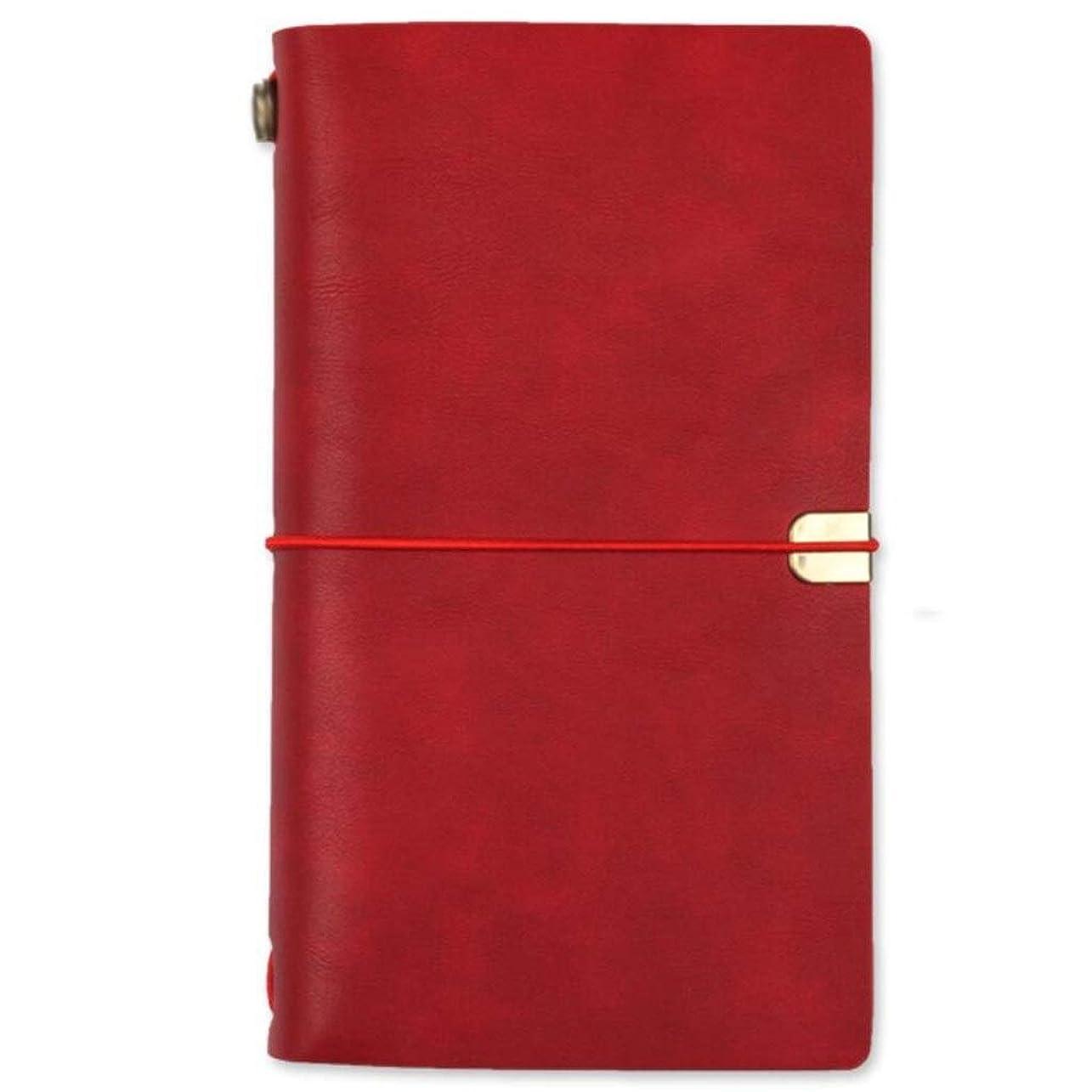 書き込み ポケットトラベラーズノートA6、ルーズリーフハンドブックレトロクリエイティブハンドブックダイアリーブック、3個 学生の (Color : Red)