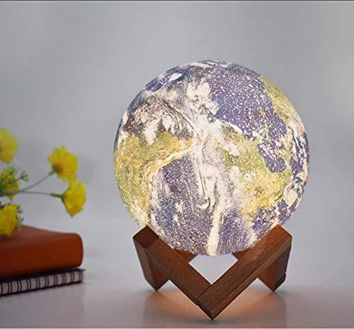 Layyqx Kleurschilder, 3D-aarde, nachtlampje, LED, decoratie, bureaulamp, voor kinderkamer, slaapkamer, 15 cm, afstandsbediening, 16 kleuren