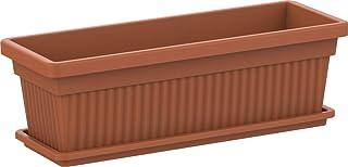 Cosmoplast Plastic Rectangular Planters 36'' With Tray - Terracotta