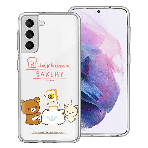 Compatible with Galaxy S21 Case (6.2inch) Rilakkuma Clear TPU Cute Soft Jelly Cover - Rilakkuma Toast