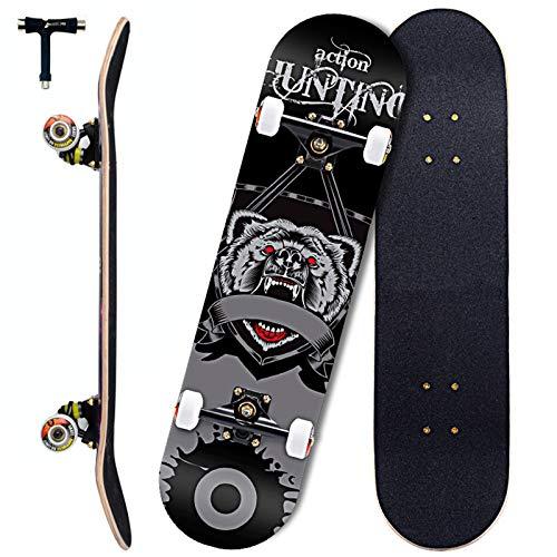 Sumeber Skateboards 31 Zoll Double Kick Adult Tricks Skateboard für Anfänger Komplettboard 79x20cm Holzboard mit ABEC 11 Lager für Teenager Kinder Erwachsene als Geburtstagsgeschenk (Kriegswolf)