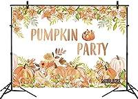HD 7X5FTファームパンプキンパーティーの背景秋の感謝祭の背景水彩のカボチャと花緑の葉写真の背景パーティーの装飾バナーポートレートフォトスタジオブース小道具