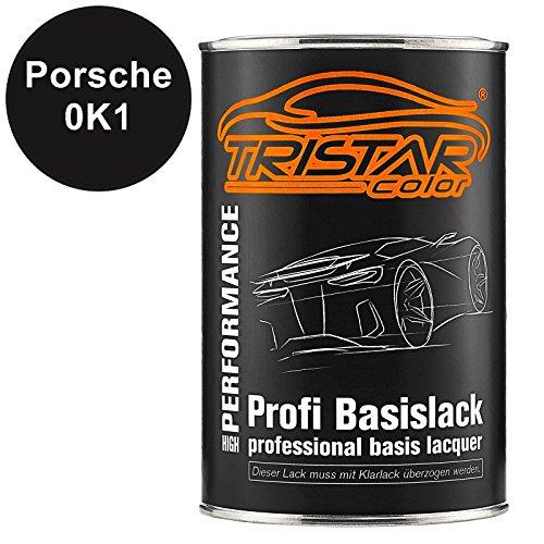 TRISTARcolor Autolack Dose spritzfertig für Porsche 0K1 Schwarz Matt Basislack 1,0 Liter 1000ml