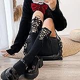 Aldevins&Granger Chaussette Bas Chaussettes New Black White Cool Bandage Stockings Women High Knee Socks Female Party Cosplay Lolita Long Stocking Summer Dress One Size Black(Bandageback