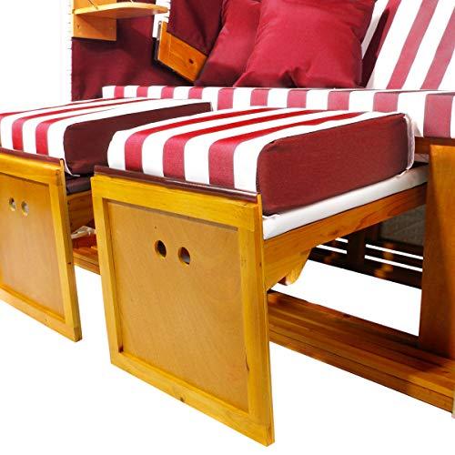 BRAST Strandkorb Nordsee XXL Volllieger Weiß Rot gestreift incl. Schutzhülle 2 Sitzer 120cm breit Gartenliege Sonneninsel Poly-Rattan - 8
