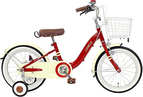 CHIBICLE チビクル 子供用自転車 16インチ チェーンカバー カゴ 泥除け 補助輪付き レッド MKB16-34-RD