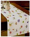 Tischläufer mit Blumen in gelb grün 40x120 cm - Gartengarnitur Tischwäsche individuell kombinierbar aus Stuhlkissen Tischdecke Tischläufer Platzset mit Blumen oder Vichy Karo - Landhaus Serie Garten Tischwäsche & Kissen Typ330