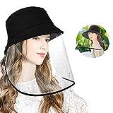 CORNMI帽子 漁師帽 つば広帽子 フェイス キャップ 帽子 ハット 顔面隔離 口鼻目 取り外し可能 おりたたみ 日除け帽子 釣り帽子 UVカット おしゃれ 紫外線対策 防風 防塵 汚染対策 アイデアグッズ 56-58cm ブラック 男女兼用ブラック56.0-58.0 cm