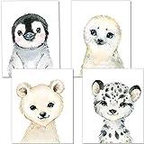 Artpin® Ensemble de 4 affiches décoratives pour enfants - décoration chambre garçon - Affiche bébé garçon ou une fille - décoration murale A4 - image tigre d'ours pingouin P51