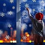 Naler 96 Schneeflocken Fensterbild Abnehmbare Fensterdeko Statisch Haftende PVC Aufkleber Winter Dekoration - 3
