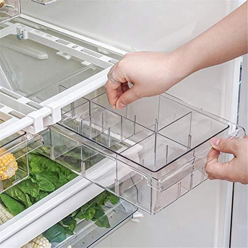 Organizer per cassetti frigo, Cassetto portaoggetti frigo, Scatola portaoggetti trasparente di piccole dimensioni Adatto per divisori da 12'a 14''Frigorifero (Vano 1/4/8'