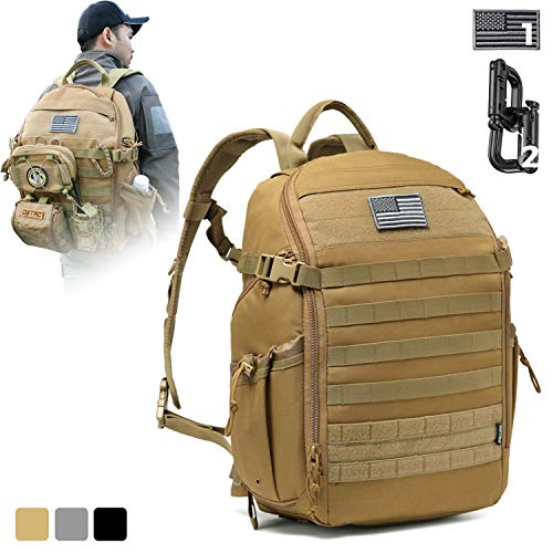 DBTAC Tactical Backpack Molle Hiking Daypack, 25L with Laptop/Hydration Pocket for EDC/Travel/School/Work   Wide Opening Easy-Access, Durable and Waterproof (Tan)