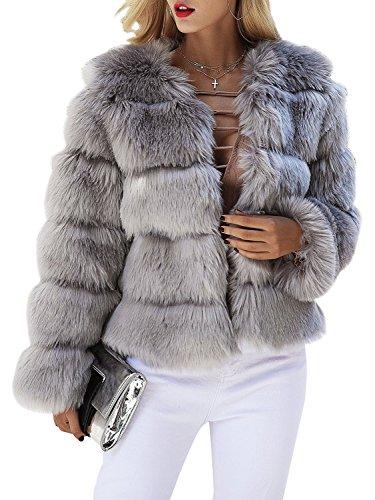 Melegant Damen Winter Pelz Mantel Elegant Warm Kunstfell Jacke Kurz Casual Coat, Grau, 42