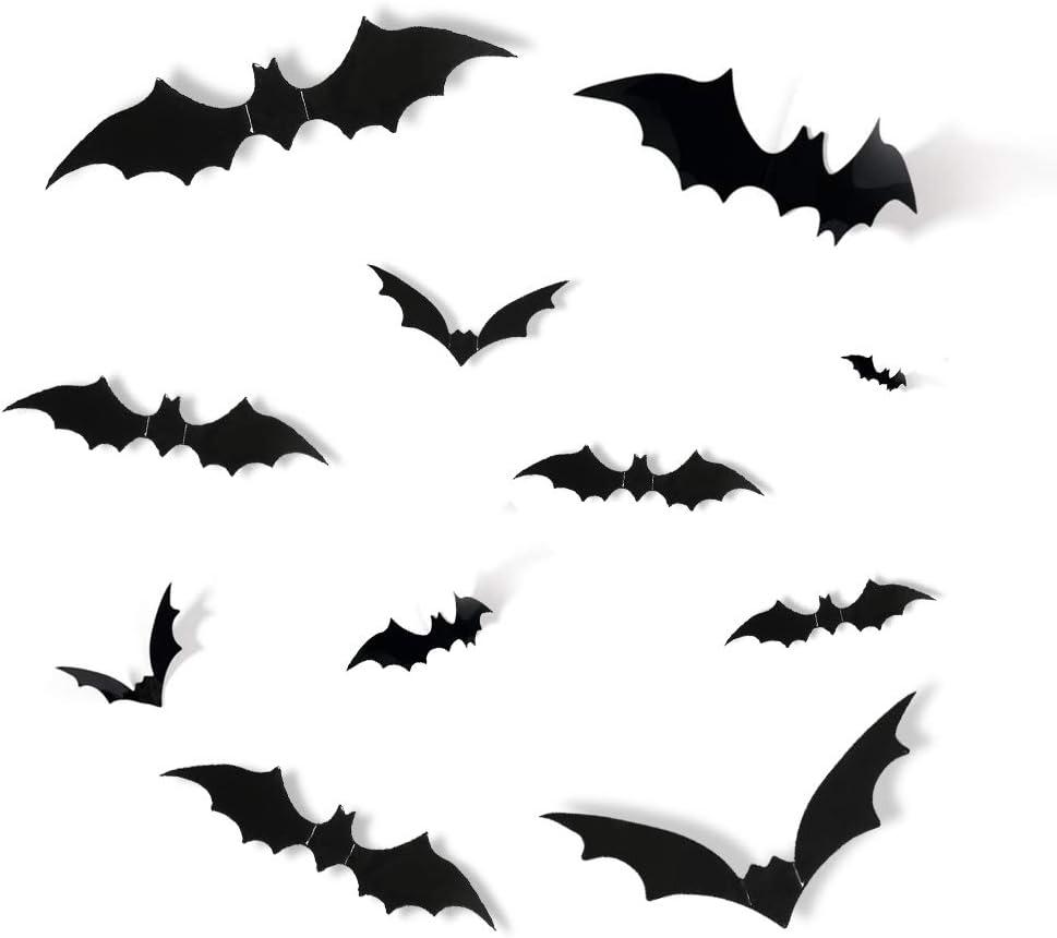 JCREN 72PCS Halloween 3D Bats 2021 Decoration 4 Sizes Décor Realistic PVC Scary Bats Window Decal Wall Stickers for DIY Halloween Eve Decor Home Bathroom Indoor Hallowmas Decoration Party Supplies
