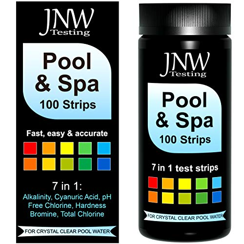 JNW Direct Pool and Spa Test Strips - 100 Strip Pack, Test pH, Chlorine, Bromine, Hardness and More, Accurate 7-in-1 Swimming Pool Water Testing