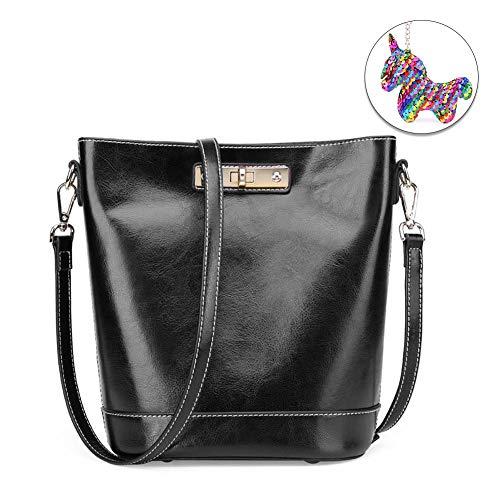 Woolala Fashion Waxed lederen emmer tas met brede schouderband, opvallende turn lock grote capaciteit schoudertas, Toten, One_Size, Zwart
