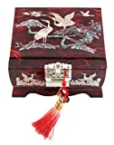 Fun-Store Nacre Inlay Mother of Pearl Music Jewellery Storage Chest Wooden Box Crane with Pin Tree Design Jewelry Mirror Box Keepsake Treasure Gift Box Trinket Case Organizer (Red)