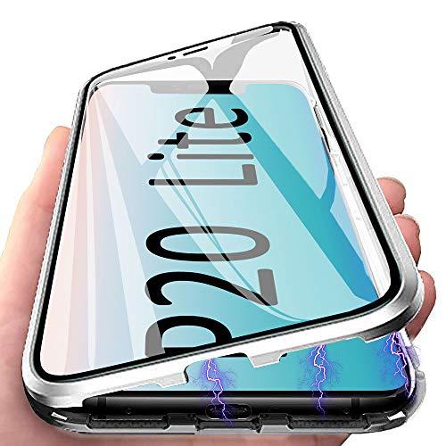 Anfire - Carcasa para Huawei P20 Lite, Huawei P20 Lite, Carcasa de absorción magnética con Cristal Templado para Huawei P20 Lite, Funda Transparente con Tapa de Aluminio y Metal
