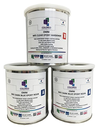 Coloredepoxies 10006 Dark Blue Epoxy Resin Coating Made with Beautiful and Vibrant Pigments, 100% solids, For Garage Floors, Basements, Concrete and Plywood. 3 Quart Kit