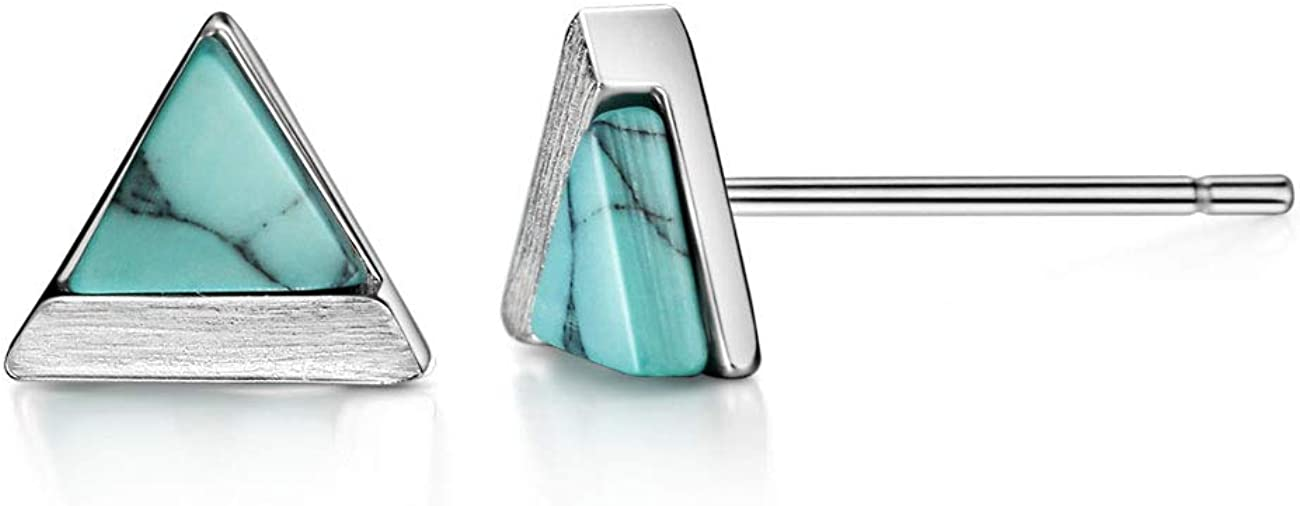 Turquoise Howlite Stud Earrings Sterling Mesa Mall Triangle Bru Free shipping Cut Silver
