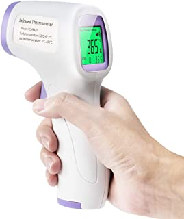 [US Stock 2020 Version] Non-Contact Forehead Infrared Thermometer, with Instant Readings and LCD Display, 3 Color Screen, for Adults and Kids with Fever Alarm