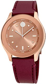 Movado Bold Rose Dial Burgundy Rubber Ladies Watch 3600429