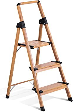 Delxo Lightweight Aluminum Woodgrain 3 Step Ladder Folding Step Stool Stepladders Home and Kitchen Step Ladder Anti-Slip Sturdy and Wide Pedal Ladders 300lbs Capacity Space Saving (3 feet)