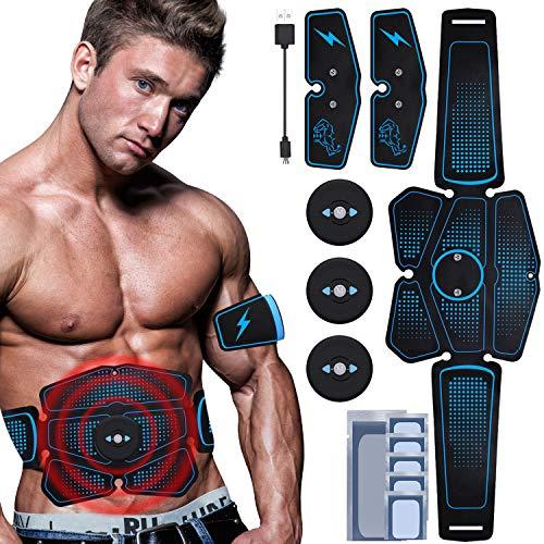 RIRGI Elettrostimolatore per Addominali, Elettrostimolatore Muscolare Professionale per Braccio Gambe Glutei Dimagrire, EMS con USB Ricaricabile, 6 modalità e 10 Livelli di Intensità (12PCS Gel)
