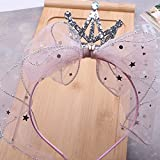 YLFF Diadema de Malla, Corona de Princesa, Bowknot de Diamante Brillante, Girly Headwear, Accesorios para el Cabello Femenino Coreano, 4 Piezas