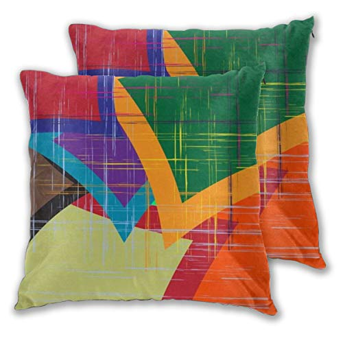 ELIENONO Square Cushion Cover 65x65cm 2 pieces Set,Modern Orange Splashes Abstract Geometric Rainbow Pattern Paintings Creative Strokes Design Grunge,decorative Throw Pillow Case for Couch Sofa Chair