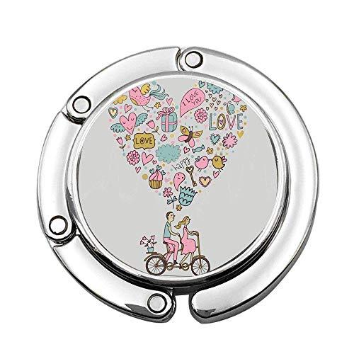 Pareja Bicicleta tándem Regalo Pastel Mariposa Amor Carta Personalizado Bolso Plegable Bolso Monedero Gancho Gancho