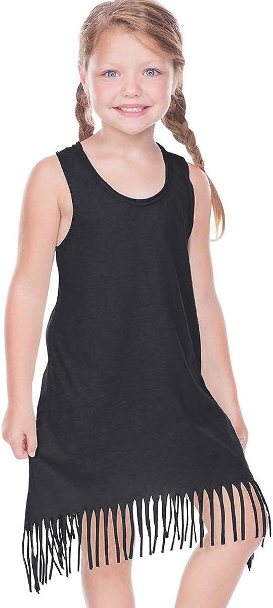 Kavio! Girls 3-6X Sheer Jersey Raw Edge Fringe Asymmetrical Tank Dress
