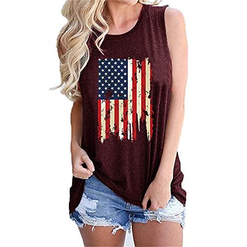 Mayntop Camiseta sin mangas para mujer, con diseño de bandera de Estados Unidos, 4 de julio, camiseta con cuello en O, A-vino, 42