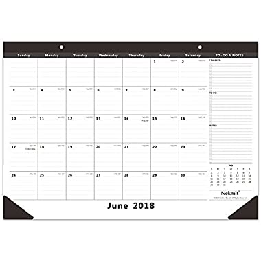 Nekmit Monthly Desk Pad Calendar, August 2018 - December 2019, 16-3/4  x 11-4/5