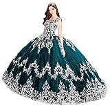 Snow Lotus Vestido de quinceañera con apliques de encaje para mujer, vestido de fiesta dulce 16