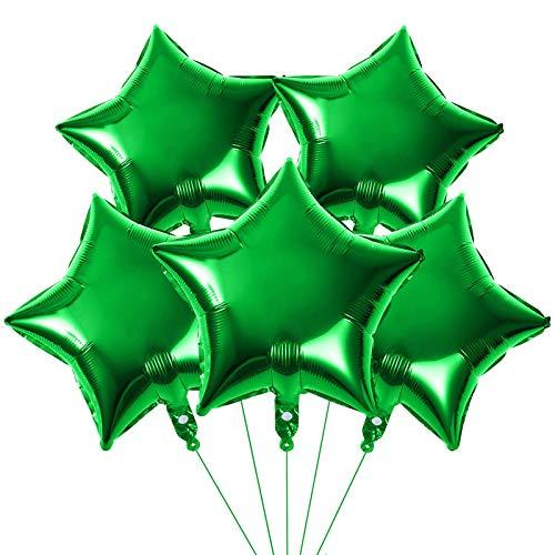 Yisscen 25 Stück Stern Folienballon, 18 Zoll Luftballons Geburtstag Party Dekoration, Sternluftballons Heliumballon für Geburtstag, Hochzeit, Valentinstag, Weihnachtsfeier Deko(Grün)