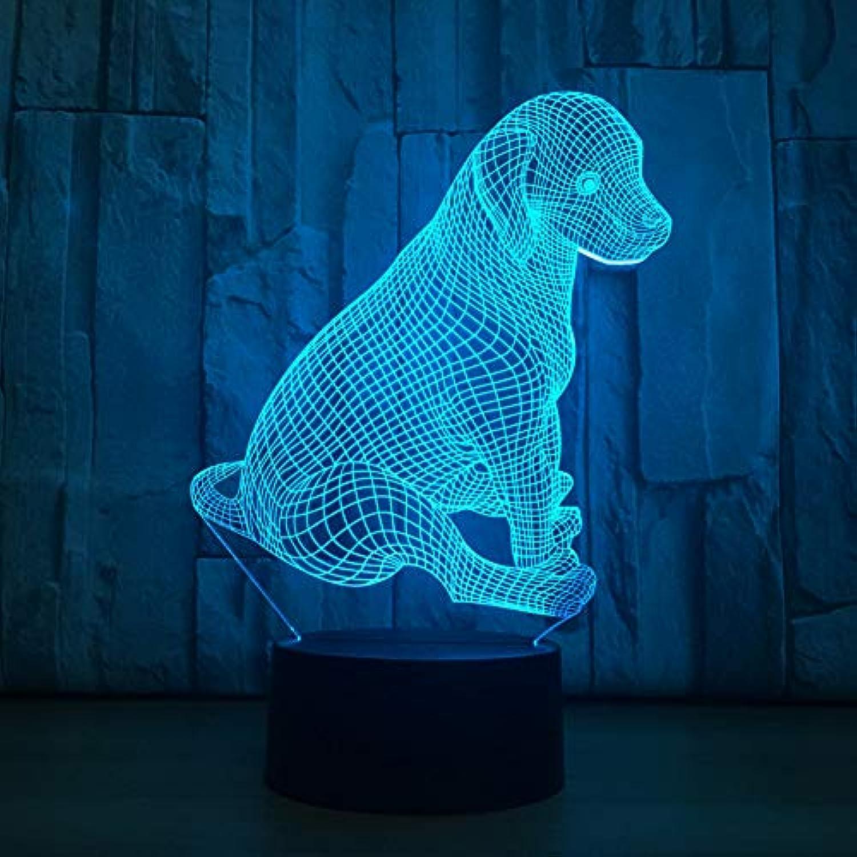 Laofan Labrador Hund Lampe 3D Nachtlicht Kinder Spielzeug Led 3D Touch Tischlampe 7 Farben Blinkende Led Licht Dekoration,Fernbedienung